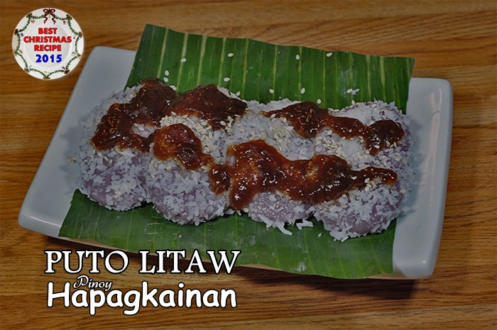 A Sticky Float Rice Cake With The Purple Flavouring Of Puto Bumbong Rolled In Shredded Coconut And Served With A